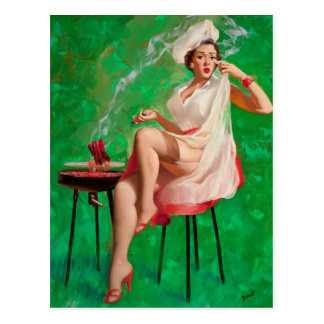 Girl with BBQ Grill Pin Up Art Postcard