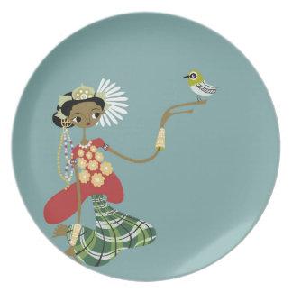 Girl with bird dinner plate