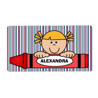 Girl with Blonde Hair Crayon School Supply Label Shipping Label
