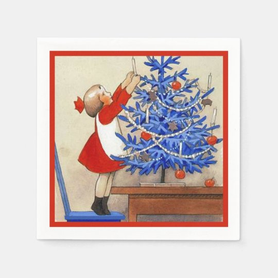 Girl with Blue Christmas Tree Disposable Napkin