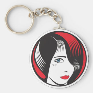 Girl witH BLUE EYES Basic Round Button Key Ring