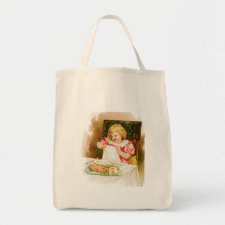 Girl with Breakfast Vintage Food Ad Art Grocery Tote Bag