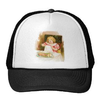 Girl with Breakfast Vintage Food Ad Art Mesh Hats