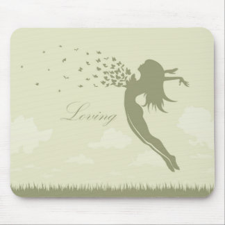 girl with butterflies in a jump mouse mat