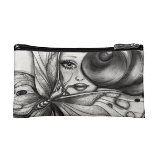 Girl with Butterfly Makeup Bags