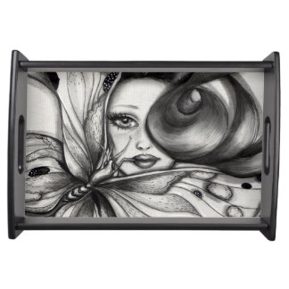 Girl with Butterfly Serving Tray