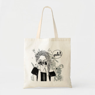 Girl with camera black and white illustration tote