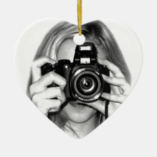 Girl with camera ceramic heart decoration