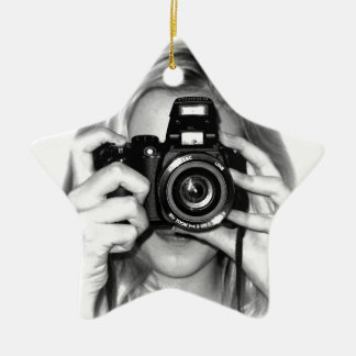 Girl with camera ceramic star decoration