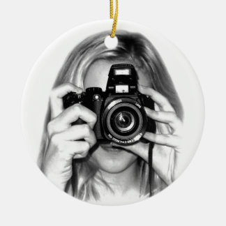 Girl with camera round ceramic decoration