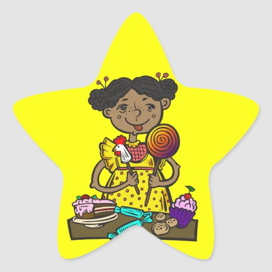 Girl With Candy and Cakes Star Sticker
