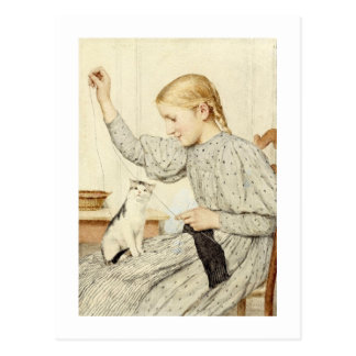 Girl with Cat, Albert Anker Postcard
