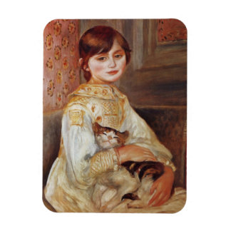Girl with Cat, Auguste Renoir Magnet