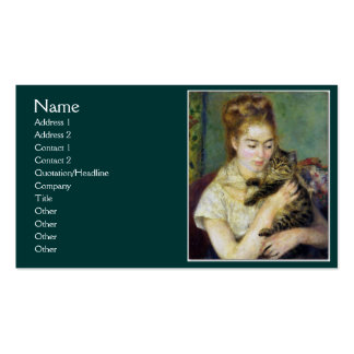 Girl with Cat by Renoir Double-Sided Standard Business Cards (Pack Of 100)