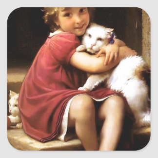 Girl with Cat Pets painting Square Sticker