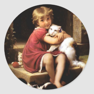 Girl with Cat Pets painting Round Sticker