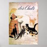 Girl with Cats, Alexandre Steinlen Poster
