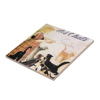 Girl with Cats, Alexandre Steinlen Tile