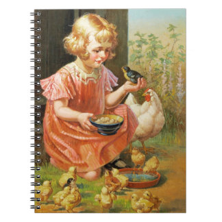 Girl with Chicks. Fine Art Easter Gift Notebook