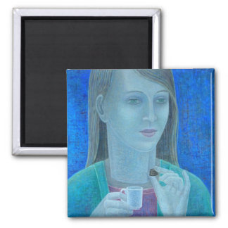 Girl with Chocolate 2011 Square Magnet