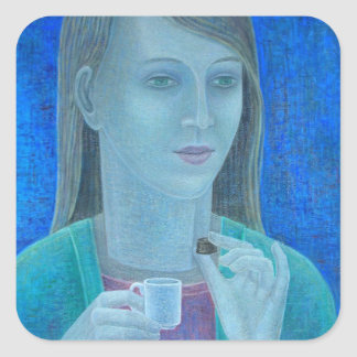 Girl with Chocolate 2011 Square Sticker