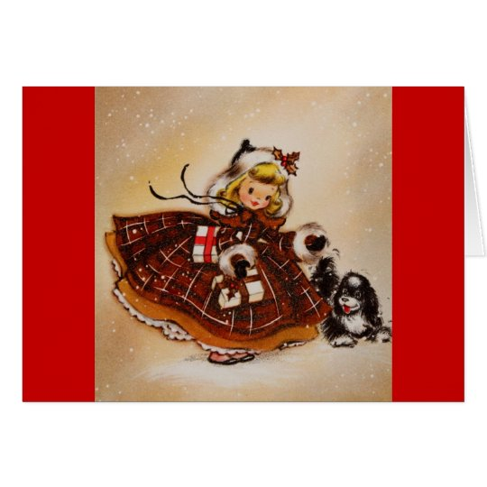 Girl with Christmas Puppy Card