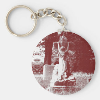 Girl with cross headstone basic round button key ring