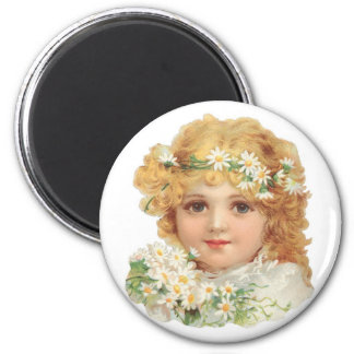 Girl With Daisies Magnet