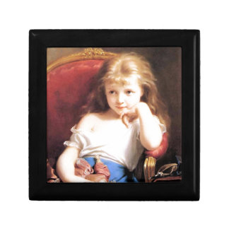 Girl with Doll antique painting Jewelry Box