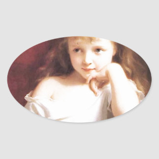 Girl with Doll antique painting Oval Sticker