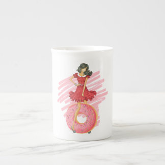 Girl with Doughnut Tea Cup