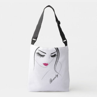 Girl with Eyelashes and Lips - Cross Body Bag Tote Bag