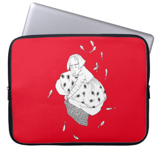 girl with fish computer sleeves