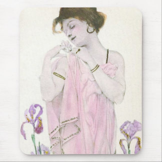 Girl with Flower Art Nouveau Mouse Pad