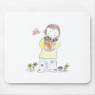 Girl with flowers and butterfly mouse pad