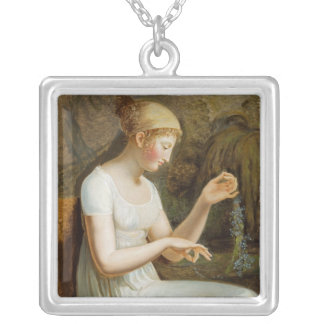 Girl with Flowers Silver Plated Necklace