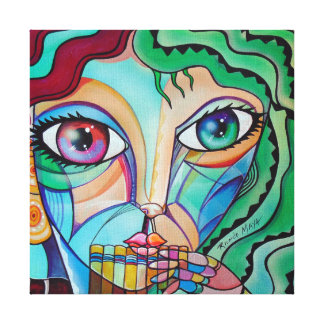 Girl with flute Original Cubism Gallery Wrapped Canvas