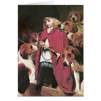 Girl with Foxhounds - Vintage Art - Charles Barber Greeting Card
