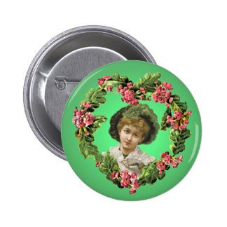 GIRL with GREEN FEATHERS by SHARON SHARPE 6 Cm Round Badge