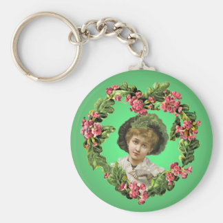 GIRL with GREEN FEATHERS by SHARON SHARPE Basic Round Button Key Ring