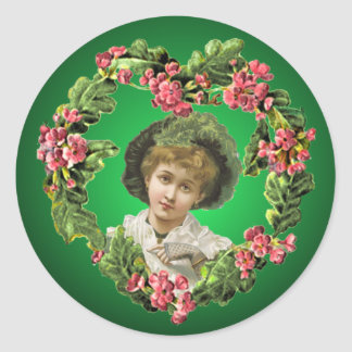 GIRL with GREEN FEATHERS by SHARON SHARPE Sticker