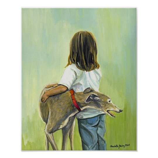 """Girl with Greyhound"" Art Print"