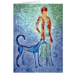 Girl with greyhound artwork card