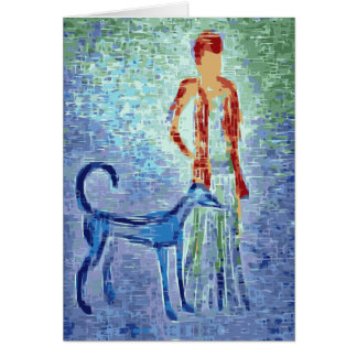 Girl with greyhound artwork greeting card