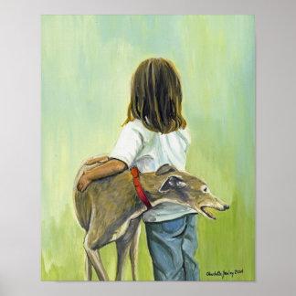 """Girl With Greyhound"" Dog Art Reproduction Print"