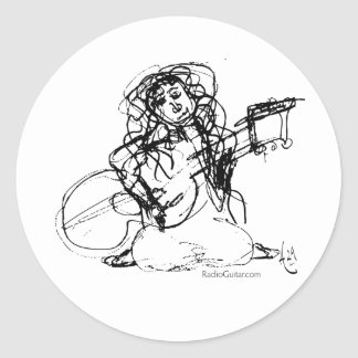 Girl with Guitar Round Stickers