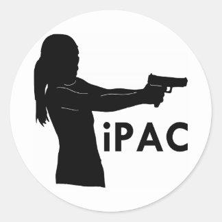 Girl With Gun iPac Classic Round Sticker