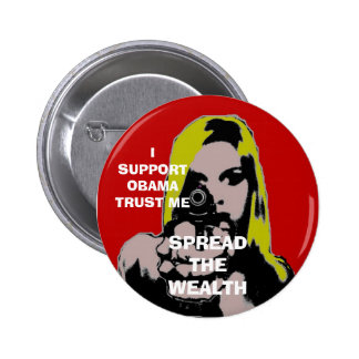 girl with gun spread the wealth 6 cm round badge