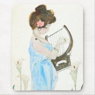 Girl with Harp Art Nouveau Mouse Pad