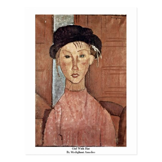 Girl With Hat By Modigliani Amedeo Postcard